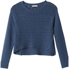 Rebecca Taylor Chunk Rib Pullover ($119) ❤ liked on Polyvore featuring tops, sweaters, shirts, jumpers, blue sweater, wool pullover sweater, thick wool sweater, chunky wool sweater and blue shirt