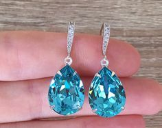 Light Turquoise Earrings, Blue Crystal Earrings, Swarovski Drop Earrings, Teardrop Bridal Jewelry, Wedding Jewelry, Bridesmaid Gift