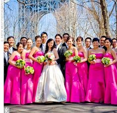 Hot pink bridesmaid dresses with green flowers! Our Fuchsia or Pink items would look lovely with this wedding party! #hotpink #fuchsia #weddingparty #wedding #bridesmaids #fun #beautiful #summer #spring