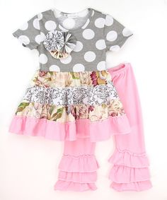 Look at this Gray Polka Dot Top & Pink Ruffle Pants - Infant, Toddler & Girls on #zulily today!