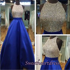 2016 beautiful royal blue satin sequins prom dress, homecoming dress, prom dresses long #coniefox #2016prom