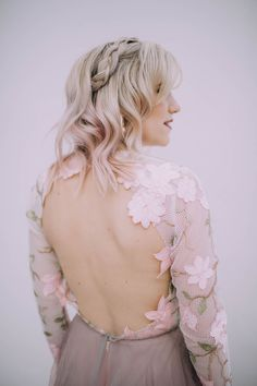 Pale pink botanical backless wedding dress with long sleeves · Rock n Roll Bride Most Beautiful Wedding Dresses, Wedding Dresses Plus Size, Wedding Trends, Wedding Styles, Wedding Ideas, Wedding Rituals, Church Ceremony, Alternative Wedding, Dream Wedding