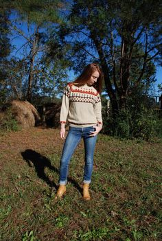 Vintage small 70s sweater Styled by Cote d' Azur brown winter fall women's mens retro fashion by furhatguild on Etsy