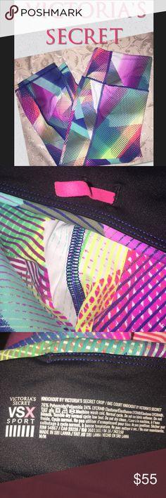 CRAZY PRICE DROP  Victoria's Secret VSX sport Victoria's Secret VSX sport pants size medium knockout line multi color very cute running jogging pants palates pants yoga Victoria's Secret Pants Leggings