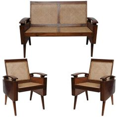 Mid-Century Suite of Three Teak Chairs and Loveseat in Style of George Nakashima | From a unique collection of antique and modern living room sets at https://www.1stdibs.com/furniture/seating/living-room-sets/