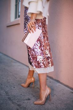 Gal Meets Glam Pink Sequin Skirt -Endless Rose sweater, Tory Burch skirt, Louboutin pumps