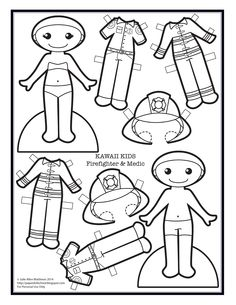 Kawaii Kids black  white pap      Kawaii Kids - firefighter and medic paper doll to color.