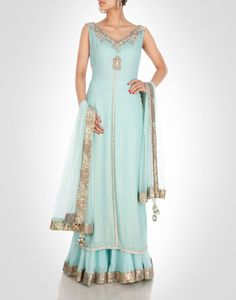Ice blue georgette sharara with zardosi work. Shop Now: www.kimaya.in