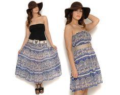70s Boho Maxi Skirt Peacock Ethnic Batik by GravelGhostVintage, $42.00