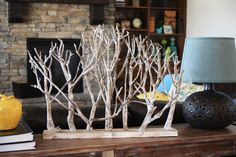 I love these whitewashed branches, so simple but they look cool above your kitchen cabinets...or with a light, giving them a lovely cast shadow. NO instructions, but nice pictures, way down on the page. Looks so beautifully Winter Wonderland!