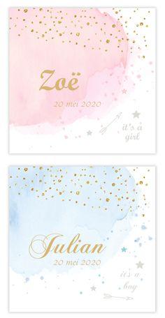 Watercolor in combinatie met goud is zo tof! Wat vind jij van deze kaartjes?   #watercolor #goud #baby #geboortekaartje
