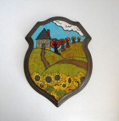 Original Folk Art Painting on Large Wooden Plaque.