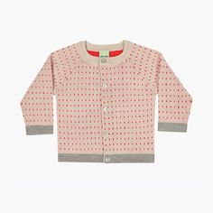 Merino Baby Dot Cardigan - Ecru/Red - 3-24m