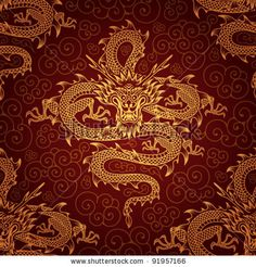 Seamless Pattern With Dragons Stock Vector 91957166 : Shutterstock