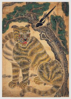 korean-art:   Tiger and Magpie Joseon dynasty 19th century  From the Ho-am Art Museum.