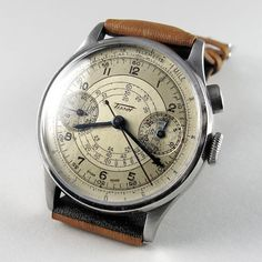 Steel Tissot vintage chronograph wristwatch, circa 1938. A rare steel single button chronograph wristwatch with register and Lemania calibre CHT15.