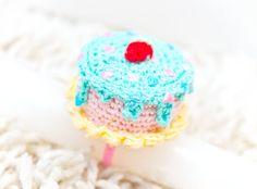 Mini Crochet Cake Ring  blue