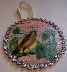 Cappuccino and Cobwebs: Pottery Barn Bird Decoupage Ornament Knock-off