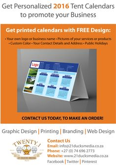 Twelve months of advertising for your business, to your preferred target market. Get Personalized 2016 Tent Calendars to promote your business. Very economic price and Free Design. This is the greatest marketing tool of all. Contact us today for more info. Email: info@21ducksmedia.co.za Facebook Page: www.facebook.com/21DucksMedia