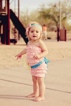 Peach Pink Lace Petti Romper and Flower Sash Birthday Outfit ~ 38.95