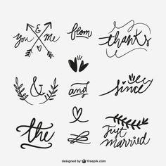 Рукописные свадебные слова Бесплатные векторы