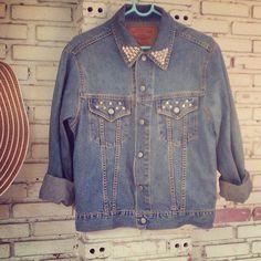 Vintage DIY Studded Blue Jean Jacket No880046 by KodChaPhorn, $32.00