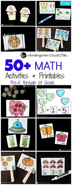 These 50+ incredible math printables and activities for Pre-K to 1st grade help develop number sense, counting, addition,…