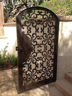 Metal Art Gate Pedestrian Walk Thru Custom Italian Wrought Iron Steel Garden Metal Garden Gates, Metal Gates, Wrought Iron Gates, Garden Doors, Front Gates, Entry Gates, Entrance Doors, House Entrance, Front Entry