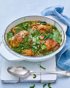 Zesty lime, coriander and coconut chicken curry recipe Spicy Recipes, Curry Recipes, Meat Recipes, Chicken Recipes, Cooking Recipes, Healthy Recipes, Chicken Meals, Savoury Recipes, Oven Recipes