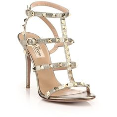 Valentino Rockstud Metallic Leather Gladiator Sandals (1,455 CAD) ❤ liked on Polyvore featuring shoes, sandals, heels, sapatos, gold, metallic gladiator sandals, metallic leather shoes, genuine leather shoes, leather shoes and metallic sandals