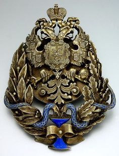 Russian Imperial Eagle Antique Silver Enamel Badge - Antique Jewelry | Vintage Rings | Faberge Eggs