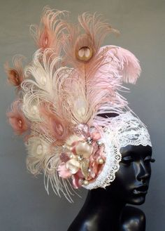 pink and ivory peacock feather headdress by MissGDesignsShop Etsy.