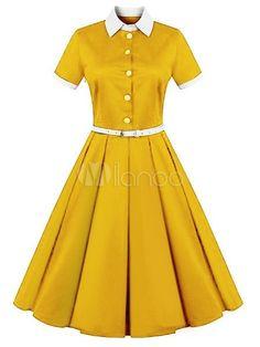 Vintage Dress 2018 Women Yellow Shirt Dress Short Sleeve Midi Dress Belted Retro Swing Dress Source by Dresses 2018 Vintage Outfits, Vintage 1950s Dresses, Retro Outfits, Retro Dress, Vintage Fashion, Yellow Vintage Dresses, Vintage Clothing, 1960s Dresses, Fifties Fashion