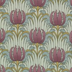 MODA Cotton Quilting Craft Fabric - Reproduction 1890 1910 Bird Tulip Aqua CF Voysey - Morris Modernized by Barbara Brackman 8264 11 William Morris Patterns, William Morris Art, Motifs Art Nouveau, Art Nouveau Design, Textiles, Textile Patterns, Print Patterns, Floral Patterns, Arts And Crafts For Adults