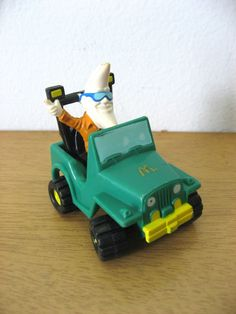 Mac Tonight in a teal Jeep. Vintage McDonalds toy 1988. Great 80s kid nostalgia gift, stocking stuffer. vintage toy vehicle novelty by PickleladyVintage on Etsy