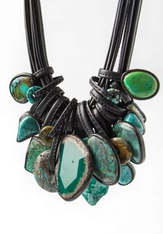 Monies UNIQUE Malachite and Multi Stone Stack Necklace | Turquoise, Malachite, Jade, Chrysoprase, Chrysokoll, Copper, Leather, Ebony - Santa Fe Dry Goods