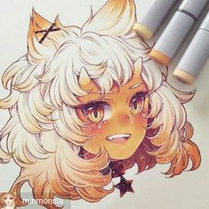 First baby in the zodiac series, Leo♌️狮子 Anime Chibi, Kawaii Anime, Kawaii Art, Marker Kunst, Copic Marker Art, Copic Art, Copic Drawings, Kawaii Drawings, Cute Drawings