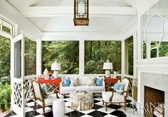 Screened porch. Atlanta Homes. LOVE a screened porch. If we were to make our back deck screened in then I would probably want it painted cream.