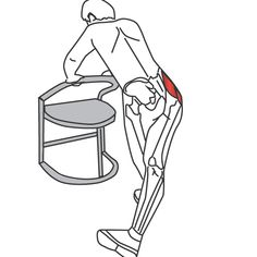 While standing, lean forward and hold onto a chair or bench to help with balance. Cross one foot behind the other and slide that foot away from your body, keeping your leg straight. Slowly bend your front leg to lower your body.