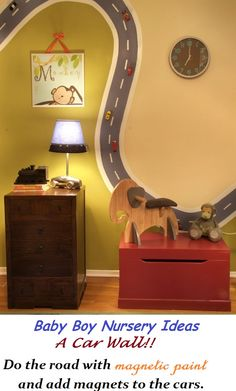 Do-the-road-with-magnetic-paint-and-add-magnets-to-the-cars...-Playroom.jpg 550×912 pixels this would be a great idea for Colin's room.