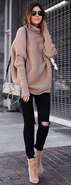 #fall #trending #outfits | Tan + Black