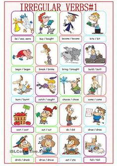 Forty irregular verbs (past) with pictures. Fully edidable so you can write in past participles if you want. - ESL worksheets