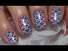 Mermaid Nails / Fischschuppen stamping Nageldesign für kurze Nägel einfa...