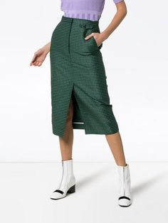 eb70a798a8 pushBUTTON high-waisted check print cotton-blend skirt