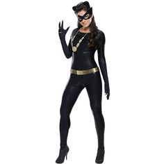 Black Cosplay Cool Sexy Womens Halloween Superhero Costume ($28) ❤ liked on Polyvore featuring costumes, black, super hero costumes, role play costumes, womens costumes, womens halloween costumes and superhero costumes