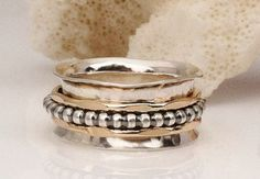 Thumb Ring Spinner Ring Silver and Gold Ring by BadBeeJewelry