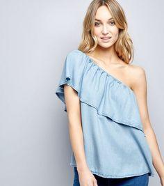 Blue Asymmetric Frill Trim Bardot Neck Top    New Look