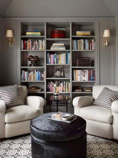74 Super Cozy Master Sitting Room Ideas www.futuristarchi… 74 Super Cozy Master Sitting Room Ideas www. Home Library Design, Family Room Design, Home Office Design, Design Desk, Storage Design, Library Ideas, House Design, Living Room Decor, Living Spaces