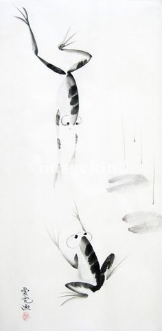 """""""Dance with Me"""" by OY Tai, Canada // Chinese brush painting on xuan paper // Imagekind.com -- Buy stunning, museum-quality fine art prints, framed prints, and canvas prints directly from independent working artists and photographers."""
