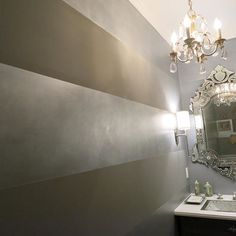 metallic wall paint colors Horizontal wide metallic stripes with Pearl Metallic Paint by Modern Masters Striped Walls, Beige Walls, Metallic Paint Walls, Pearl Paint, Wall Decor, Room Decor, Paint Stripes, Wall Paint Colors, Modern Masters